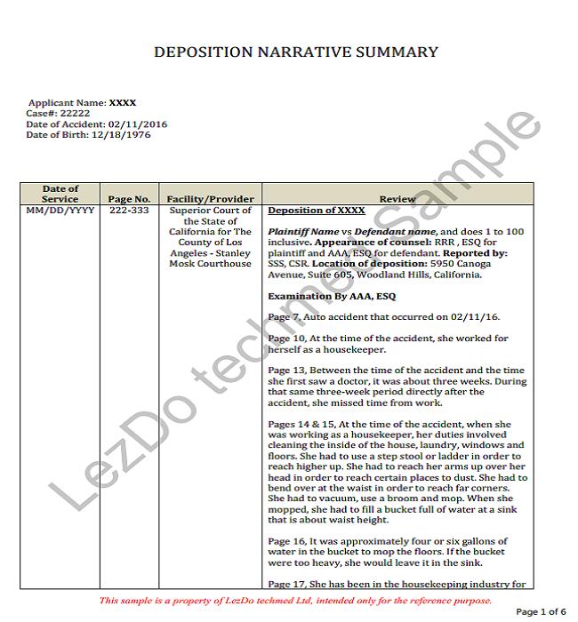 deposition narrative summary example